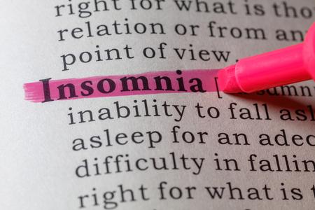 Fake woordenboek, woordenboek definitie van het woord slapeloosheid.