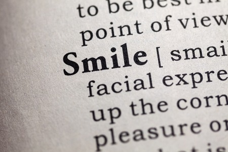 fake smile: Fake Dictionary, Dictionary definition of the word smile. Stock Photo