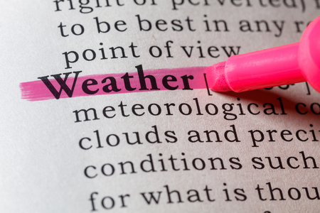 Fake Dictionary, Dictionary definition of the word Weather. Banco de Imagens