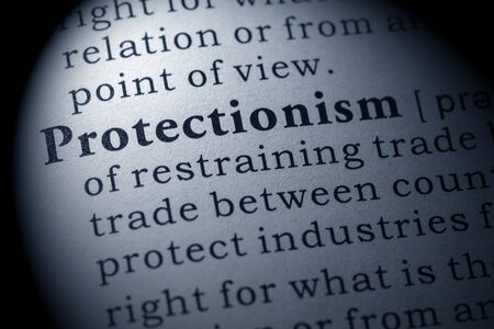 protectionism: Fake Dictionary, Dictionary definition of the word Protectionism. including key descriptive words. Stock Photo