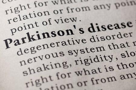 Fake Dictionary, Dictionary definition of the word Parkinson's disease. including key descriptive words. 版權商用圖片 - 72203810