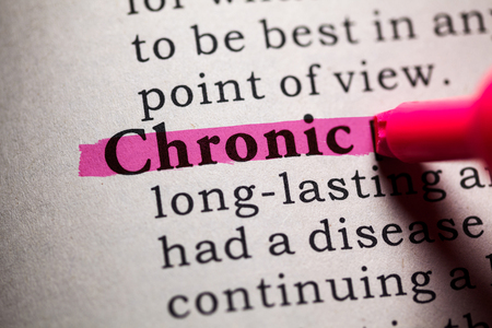 chronic: Fake Dictionary, Dictionary definition of the word Chronic. Stock Photo