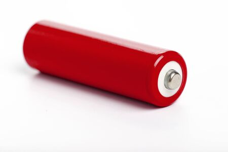 red battery with white background, close up Stock Photo