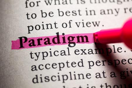 Valse woordenboek, woordenboek definitie van het woord paradigma. Stockfoto