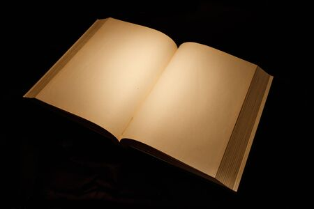 vintage document: Blank white pages in an open hardcover book.