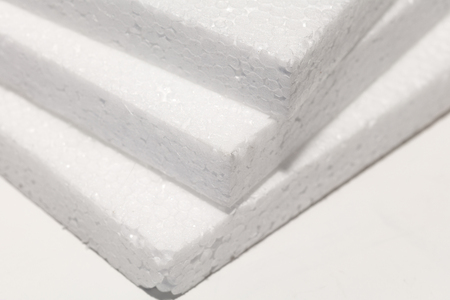 white foam board close up, packaging material. Stock Photo