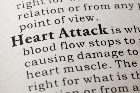 Fake Dictionary, Dictionary definition of the word heart attack. including key descriptive words. 版權商用圖片