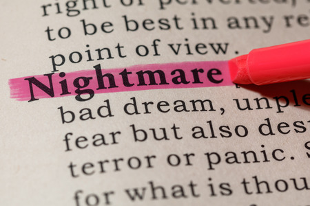 Fake Dictionary, Dictionary definition of the word nightmare. including key descriptive words.