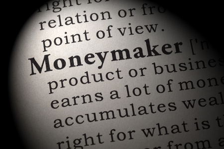 Fake Dictionary, Dictionary definition of the word moneymaker. including key descriptive words.