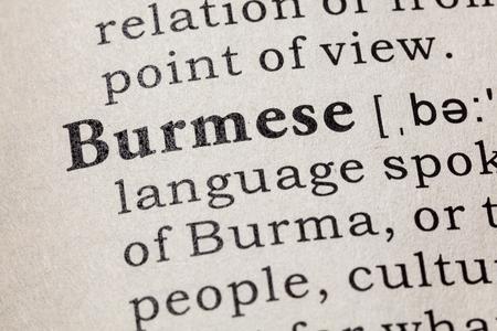 Fake Dictionary, Dictionary definition of the word Burmese. including key descriptive words. 版權商用圖片
