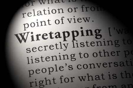 Fake Dictionary, Dictionary definition of the word Wiretapping. including key descriptive words.