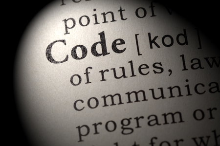 Fake Dictionary, Dictionary definition of the word code. including key descriptive words.