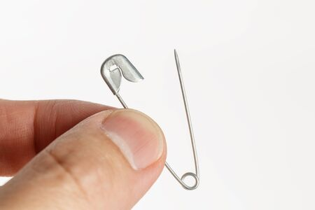 sewing safety pin isolated on a white background