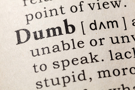 Fake Dictionary, Dictionary definition of the word dumb. including key descriptive words. Banco de Imagens