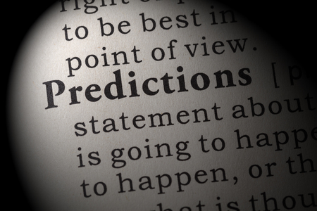 Fake Dictionary, Dictionary definition of the word predictions. including key descriptive words.
