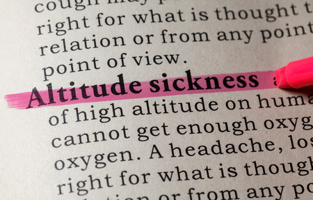 Fake Dictionary, Dictionary definition of the word Altitude sickness. including key descriptive words.