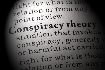 Fake Dictionary, Dictionary definition of the word conspiracy theory. including key descriptive words. Banco de Imagens