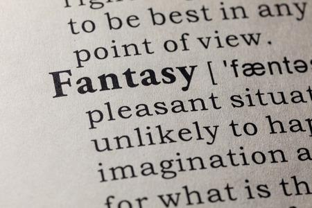 Fake Dictionary, Dictionary definition of the word fantasy. including key descriptive words. Banco de Imagens