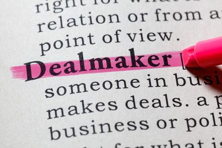 Fake Dictionary, Dictionary definition of the word dealmaker. including key descriptive words.