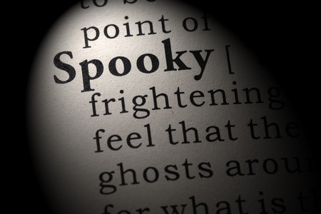 Fake Dictionary, Dictionary definition of the word spooky. including key descriptive words.