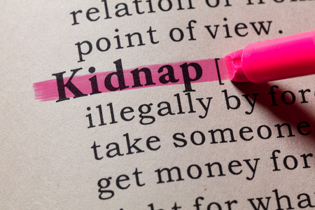 Fake Dictionary, Dictionary definition of the word kidnap. including key descriptive words.