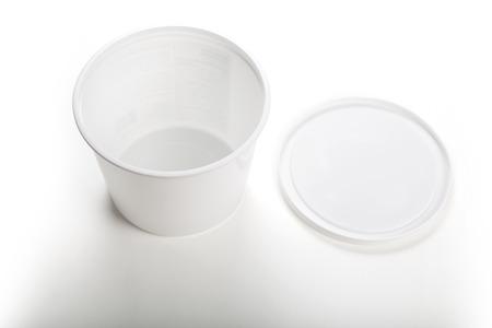 White Plastic Tub Bucket Container close up Banco de Imagens