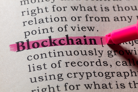Fake Dictionary, Dictionary definition of the word blockchain. including key descriptive words.