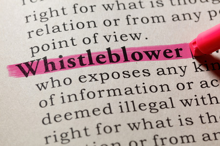 Fake Dictionary, Dictionary definition of the word whistleblower. including key descriptive words. Фото со стока