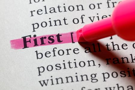 Fake Dictionary, Dictionary definition of the word first. including key descriptive words. Banco de Imagens