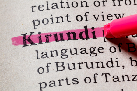Fake Dictionary, Dictionary definition of the word Kirundi. including key descriptive words. Фото со стока