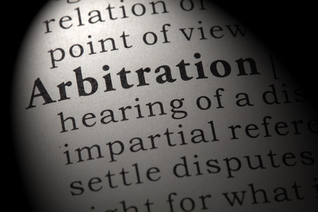 Fake Dictionary, Dictionary definition of the word arbitration. including key descriptive words.