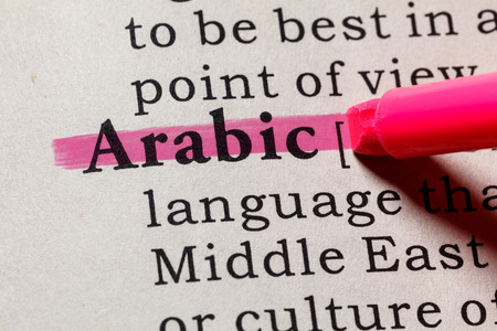 Fake Dictionary, Dictionary definition of the word Arabic. including key descriptive words.