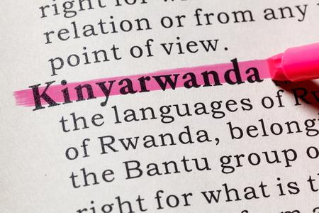 Fake Dictionary, Dictionary definition of the word Kinyarwanda. including key descriptive words.