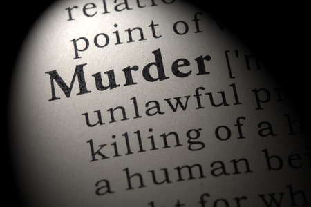 Fake Dictionary, Dictionary definition of the word murder. including key descriptive words.