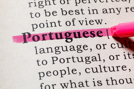 Fake Dictionary, Dictionary definition of the word Portuguese. including key descriptive words.