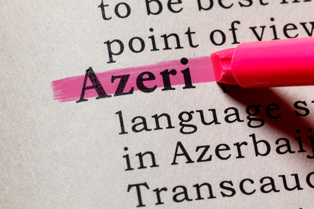 Fake Dictionary, Dictionary definition of the word Azeri. including key descriptive words.