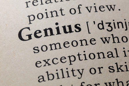 Fake Dictionary, Dictionary definition of the word genius. including key descriptive words. Stock fotó
