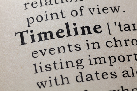 Fake Dictionary, Dictionary definition of the word Timeline. including key descriptive words.