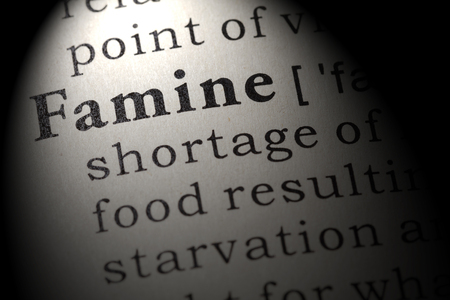 Fake Dictionary, Dictionary definition of the word famine. including key descriptive words.