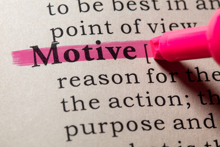 Fake Dictionary, Dictionary definition of the word motive. including key descriptive words.