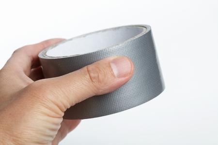 Silber Reparatur Klebeband mit weißem Hintergrund