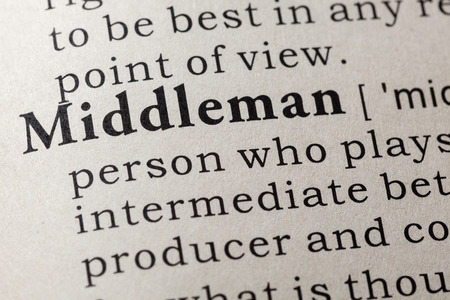 Fake Dictionary, Dictionary definition of the word middleman. including key descriptive words. Stock fotó - 109496119