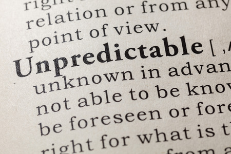 Fake Dictionary. Dictionary definition of the word unpredictable. Including key descriptive words.