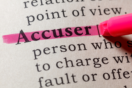 Fake Dictionary, Dictionary definition of the word accuser. including key descriptive words.