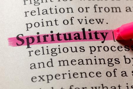 Fake Dictionary, Dictionary definition of the word spirituality. including key descriptive words. Banco de Imagens
