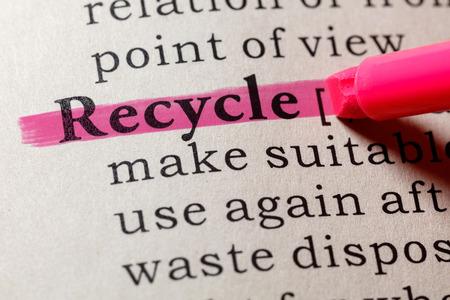 Fake Dictionary, Dictionary definition of the word recycle. including key descriptive words. Banco de Imagens
