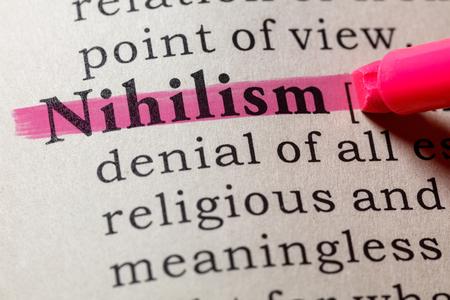 Fake Dictionary, Dictionary definition of the word nihilism. including key descriptive words. Banco de Imagens