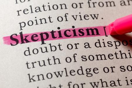 Fake Dictionary, Dictionary definition of the word skepticism. including key descriptive words. Banco de Imagens