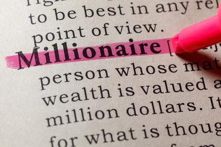 Fake Dictionary, Dictionary definition of the word Millionaire. including key descriptive words. Banco de Imagens