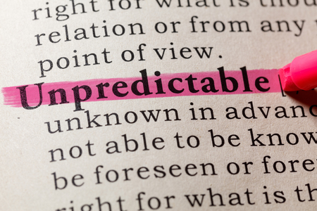 Fake Dictionary, Dictionary definition of the word unpredictable. including key descriptive words.